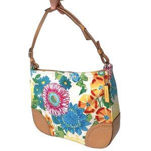 Coach Floral Shoulder Handbag Vachetta Trim Brogue